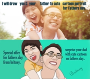 I will draw you and your dad to cartoon portrait for fathers day